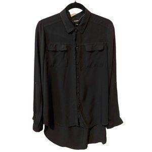 a.n.a Long Sleeve Black Button Down Blouse
